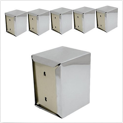 6x Napkin / Serviette Dispenser, D Fold, Stainless Steel, 130x95x115mm