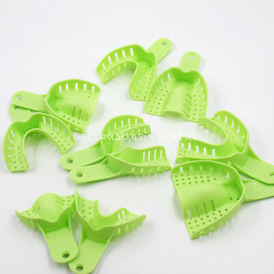 10 Pcs Autoclavable Dental Plastic Impression Trays Central Denture Disposable