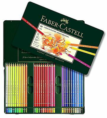 Faber Castell Polychromos Artists Watercolor Pencil Set Tin Case 60 Colors Art