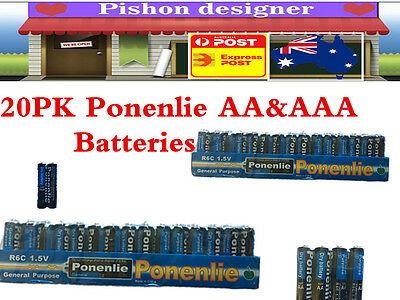 20pack Ponenlie 1.5v Alkaline Battery AA/AAA for General Purpose Brand New