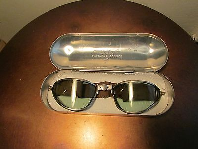 Vintage WWII American Optical Aviator Goggles, Motorcycle, With NOS Strap