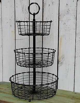 Industrial metal 3 tier large tray antique bronze country home kitchen decor