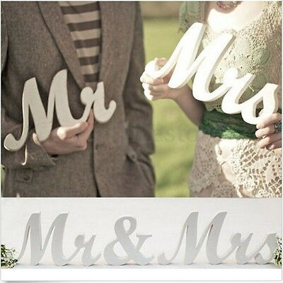 Mr & Mrs White Letters Sign Wooden Standing Top Table Wedding Photo Decoration