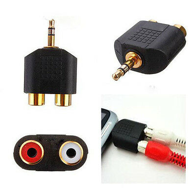 1pc 3.5mm Splitter Audio Video Plug Converter Male to 2 RCA Female Cable Adapter