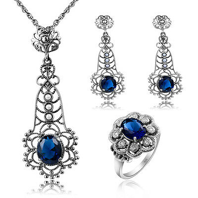 925 Silver pearl gemstone Earrings, Necklace Pendant ,ring party Jewelry Set Hot