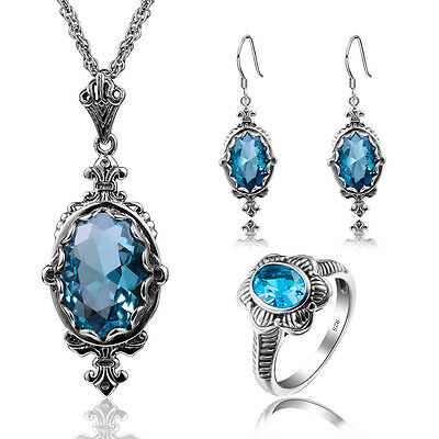 925 Sterling Silver Wedding Accessories Bridal Jewelry ring earrings pendant Set