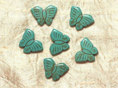 2pc - Perle Turquoise Synthèse Papillons 26mm Bleu Turquoise