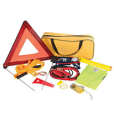 Car Emergency Breakdown Kit Tow Rope Jump Leads Triangle Foot Pump Hi-Vis 933429