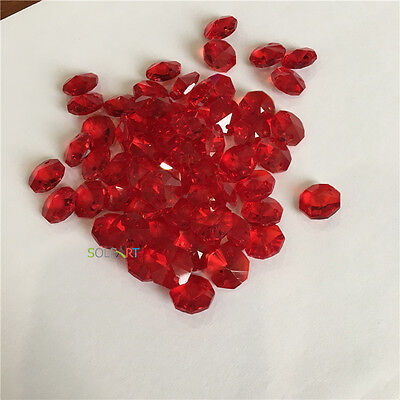 200 pcs DEEP RED Crystal Octagonal Beads chain hanging Wedding Room Decoration