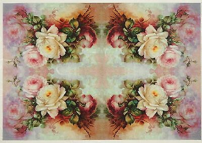 Rice Paper Colorful Small Roses Bouquets for Decoupage Scrapbook Craft Sheet