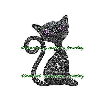 Pussy-Cat-1.25cts ROSE CUT DIAMOND REAL RUBY ANTIQUE WEDDING SILVER PIN-BROOCHES