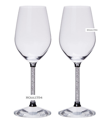 Wine Glasses Made With Swarovski Crystals In Stem Red White Wine Wedding Present