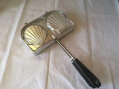 Vintage SEFAMA Sea Shell Sandwich Press Iron France Panini Maker Double