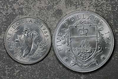 Two Nice Uncirculated Bahamas Silver Coins!  1966 $1, 1971 $5