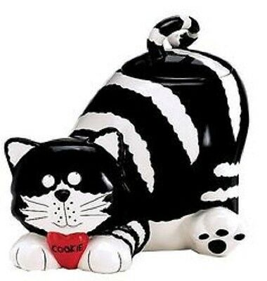 """Black And White Striped Cat Cookie Jar 8.5"""" New"""