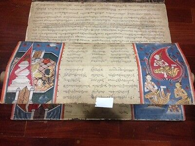 Original Antique Thai  Manuscript FULL PAGE(30painting) early 19th Century