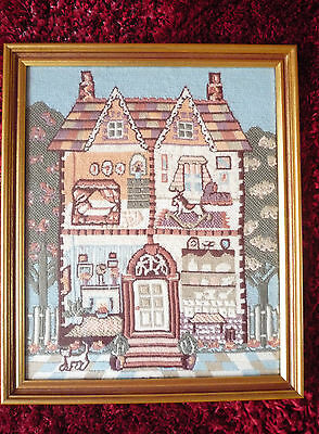 Tapestry Picture of Dolls House Wooden Frame Gold Glass 45 x 37 cm