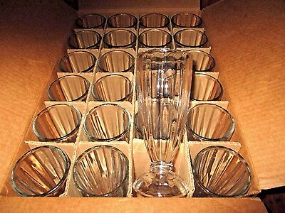 "LIBBEY 5110 Ribbed Design 7 1/2"" Tall Fountainware 12oz SODA GLASSES/24 per case"