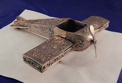 ANTIQUE GERMAN STERLING SILVER REPOUSSE AIRPLANE SMOKERS COMPANION c.1920's