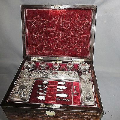 A 19Th Century Victorian Vanity/jewellery Box With Silver Fittings
