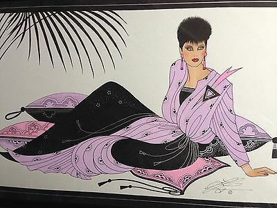 Large Vintage 80's Original Signed Framed Fashion Illustration Patrick Nagel Era
