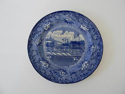 Antique Historical Staffordshire Blue & White Plate - Landing Of Lafayette