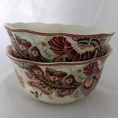 222 Fifth Gabrielle Cream Set of 2 Couple Cereal Bowls Floral Paisley Scalloped