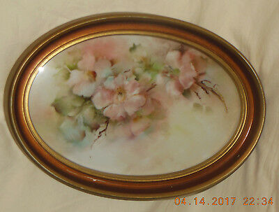 1976 Hand Painted Porcelain framed oval picture China painting  Floral