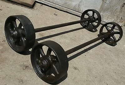 "5"" Cast Wheels & Axles  Hit Miss Gas Engine Steam Industrial Cart.NICE!"