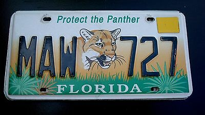 Lot of 1 - FLORIDA 2000? - LICENSE PLATE # MAW 727 - FREE SHIPPING - PANTHER