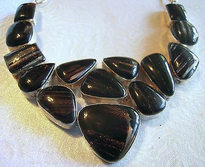 "Large Bib Necklace Silver Plate Dichroic Glass Brown with foil 14 stones 22"" NIB"
