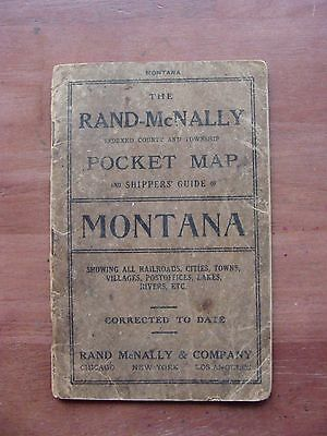 Antique Rand McNally Pocket Map and Shippers Guide of Montana 1912