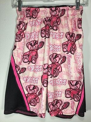 Flow Society Shorts ANGRY BEAR Lacrosse Youth Kids SIZE S Small Pink
