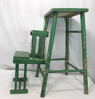 Vintage GREEN Painted Wood Folding Retractable Step Stool Ladder Antique Old