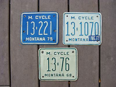 Lot of 3 Missoula County Montana Motorcycle License Plates 68 72 75