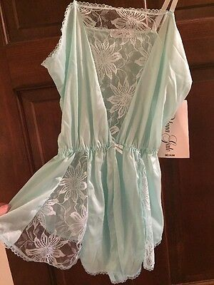 Alana Gale Vintage 80s Lingerie Teddy New With Tags Nwt Seafoam One Piece Medium