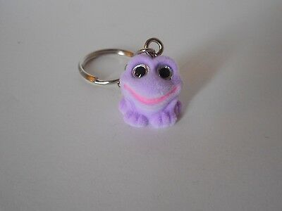 Adorable! key chain backpack purse lunchbox charm flocked purple frog glitter