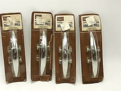 Vintage MCM Sears Drawer Pulls Cabinet Hardware NOS Chrome Mod 4 Pcs