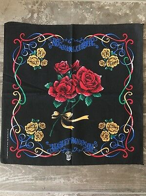 VTG 90'sHARLEY DAVIDSON ROSE TATTOO PRINT BANDANA SCARF Handkerchief NEW
