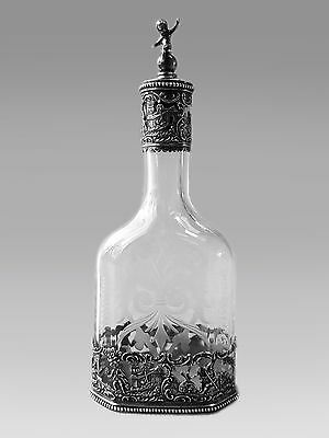German Hanau SOLID SILVER Mounted & Etched Glass Decanter PUTTI c. 1900