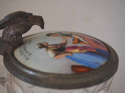 Antique 19th c Germany~Hand Painted Ladies Lid~Eagle Figure Handle Glass Stein