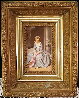 Hand Painted Porcelain Portrait Plaque YOung Girl Sitting on Steps KPM Quality