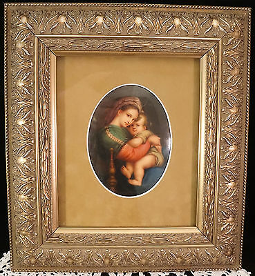KPM Signed Porcelain Plaque of Madonna della Seggiola  - Mary & Baby Jesus WoW!