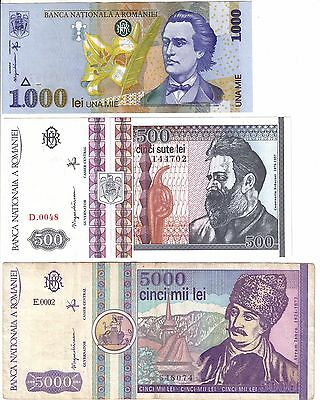 Romania 500 and 1000 Lei - P101 and P106 Uncirculated & 5000 Lei P103 VF+