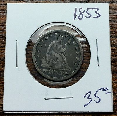 1853 Seated Liberty Quarter Very Good 900 Fine Silver .25 Cent Piece