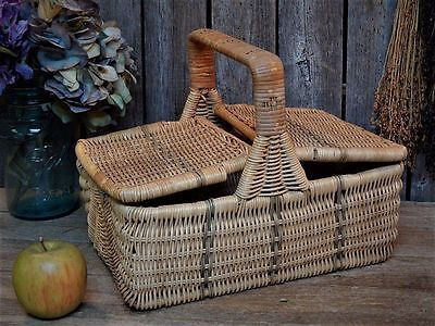 Antique Primitive Vtg Double Lid Woven Toto Gathering Basket Farmhouse