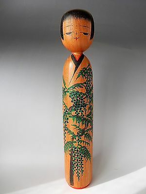"""Antique Japanese Traditional Kokeshi Wood Doll Artist Signed Wistaria 35cm 13.8"""""""