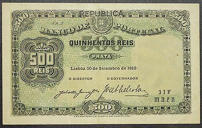 Portugal Banknote 500 REIS✦1910 P105a✦Very Fine and Rare