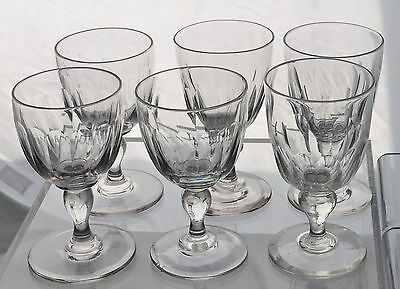 Set of 6 Antique Hi-Knob Victorian Slice Cut Blown Glass Rummers Goblets