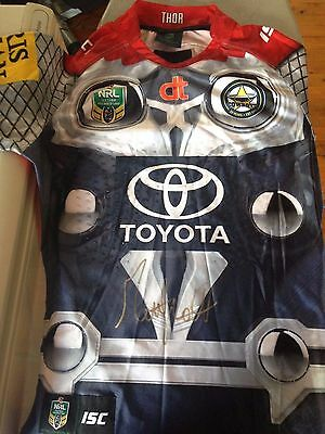 2015 North Queensland Cowboys Matt Scott Game Worn Thor Jersey 200th Game Signed